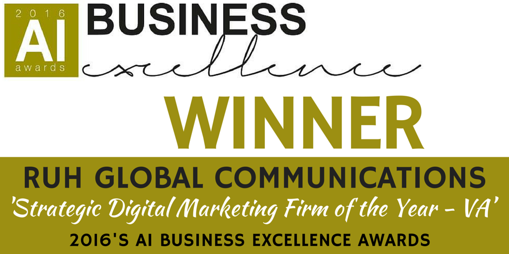 Delighted to announce that Ruh Global Communication's has won Strategic Digital Marketing Firm of the Year in the 2016 AI Business Excellence Awards