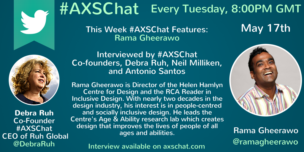 Rama Gheerawo's Video Interview available on www.axschat.com